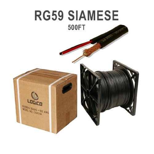 (Siamese Cable 500ft Rg59 95% Video & Power Wire Rg59/u Cctv Security Camera Bulk)