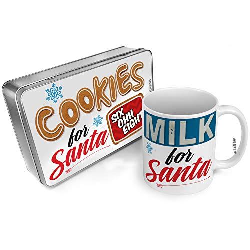 NEONBLOND Cookies and Milk for Santa Set 608 Madison, WI red Christmas Mug Plate Box -