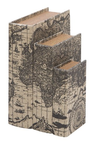Deco 79 Faux Book Boxes with Ancient World Map For Sale