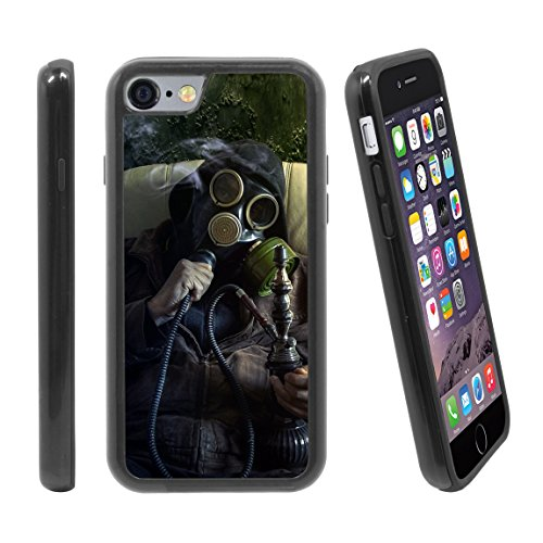 [Man Wearing Gas Mask Smoking Weed] for Apple iPhone 6 / 6S (4.7 inches) Hybrid Heavy Duty Armor Shockproof Silicone Cover Rugged case