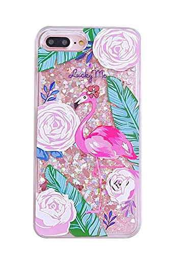(Liquid case for iPhone 6/6 Plus/iPhone 7/7 Plus Print Flowing Liquid Floating Luxury Bling Glitter Sparkle Stars Transparent Plastic Case (Flamingo Large, iPhone 7 Plus (5.5)