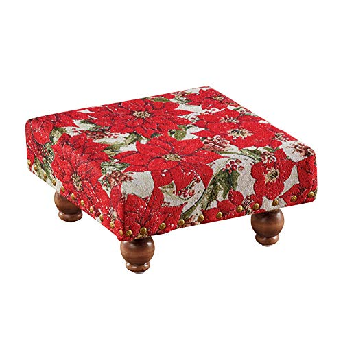 Tapestry Winston - Collections Etc Brass Studded Poinsettias Tapestry Footstool - Living Room Winter Accent