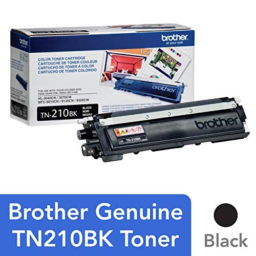 Brother Genuine Standard Yield Toner Cartridge, TN210BK, Replacement Black Toner, Page Yield Up To 2,200 Pages, TN210 (Tn 210 Brother)
