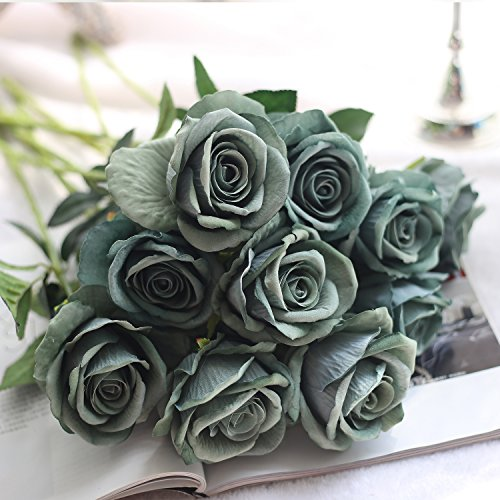 10 Pcs Real Touch Flannel Artificial Rose Flowers Fake Flower Home Decorations for Wedding Party Bridal Bouquet or Birthday Garden Flower Saint Valentine's Day Gifts Party Event(Grey green)