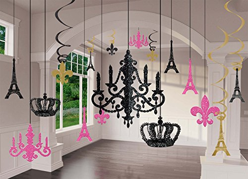 amscan Party Supplies a Day in Paris Chandelier Decorating Kit 17Pc, Multi Color -