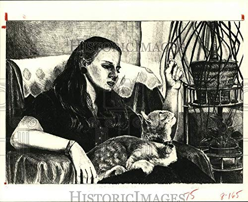 1980 Press Photo Self portrait with a cat by artist Sharon Claggett. - hca79929 ()