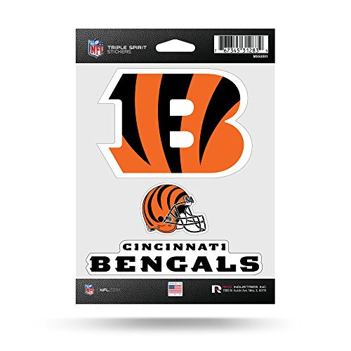 NFL Cincinnati Bengals Triple Spirit Stickers, Orange, Black, 3 Team Stickers