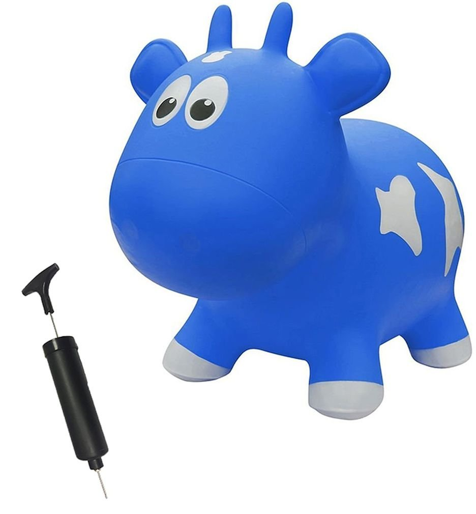 Farm Hoppers Award Winning Inflatable Bouncing Blue Cow with Pump