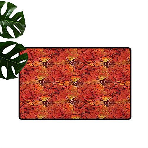 Anzhutwelve Batik,Printed Carpet Grungy Distressed Nostalgic Victorian Style Flower Petals Romantic Female Retro Design 36