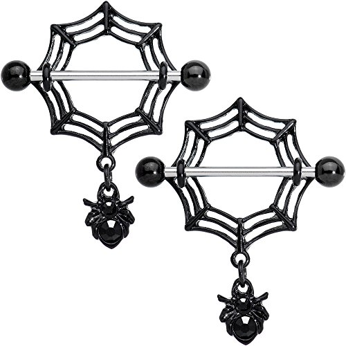 Body Candy Steel Black Black Spiders Webs Halloween Dangle Nipple Ring Set of 2 14 Gauge 9/16