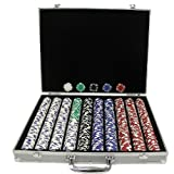 Trademark Poker 1000 Royal Suited Chips with Aluminum Case, Silver