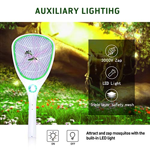 Tlanpu Bug Zapper-Rechargeable Electric Mosquito Swatter,Fly Killer Bug Zapper Racket,3000Volt,Super-Bright LED Light to Zap in The Dark,Unique 3-Layer Safety Mesh by Tlanpu (Image #3)