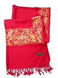 India Handmade Embroidery - Premium Soft Pashmina / Kashmir - Dark Red with Multicolors Flora - 80'' X 27'' Wraps / Scarf / Scarves / Shawl / Tablecloth / Home Decoration