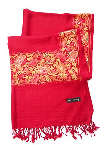 India Handmade Embroidery - Premium Soft Pashmina / Kashmir - Dark Red with Multicolors Flora - 80'' X 27'' Wraps / Scarf / Scarves / Shawl / Tablecloth / Home Decoration by SukSomboonShop