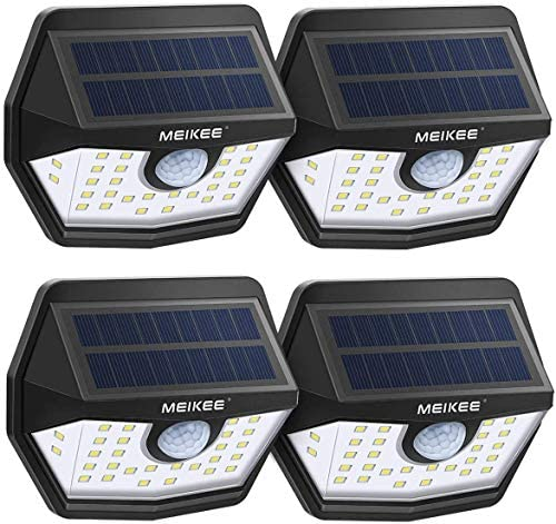 Solar Lights Outdoor,MEIKEE IP65 Waterproof Motion Sensor Solar Lights, Easy to Install Solar Wall Lights with 120 Wide Angle, LED Solar Lights Perfect for Patio, Yard, Garden, Garage 4-Pack