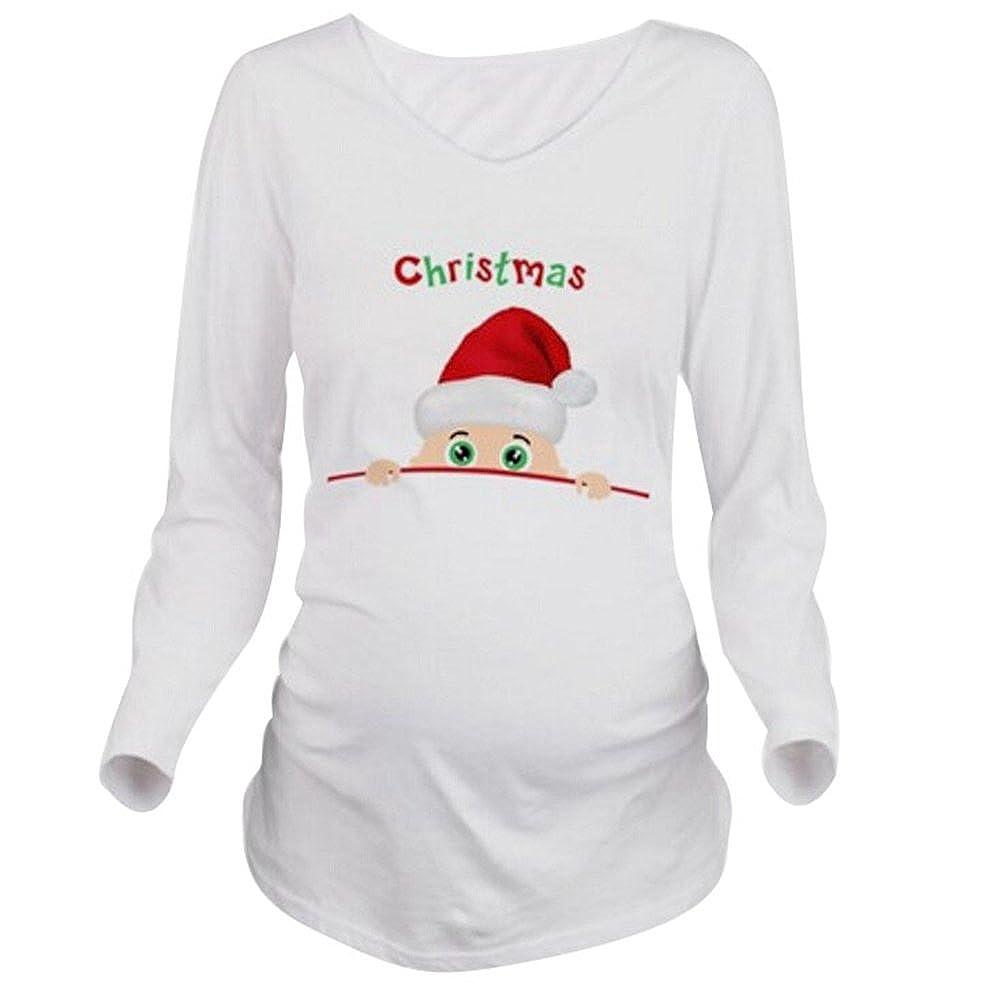 Binhee Damen Umstands Langarm T-Shirt Mit Santa Peeking Pattern
