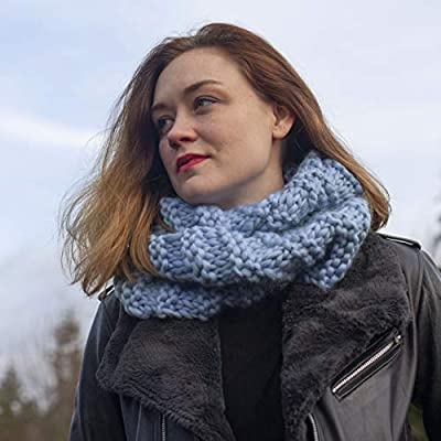 big needles and written pattern Color WINE Air Merino Outlander Cowl KNIT KIT includes super soft thick Air Merino yarn