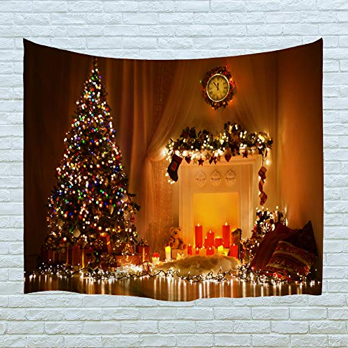XINYI Home Wall Hanging Holiday Art Polyester Fabric Christmas Theme Tapestry, Home Decor For Dorm Room, Bedroom, Living Room, Nail Included - 90