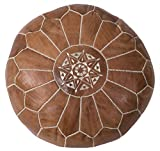 Casablanca Market Moroccan Embroidered Cotton Stuffed Leather Pouf/Ottoman, Desert Tan