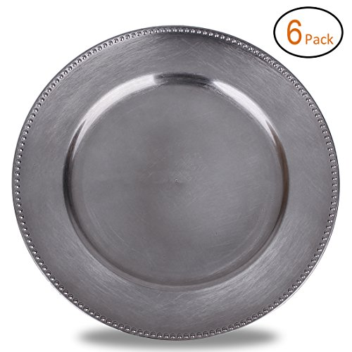 FANTASTIC :)  Round 13 Inch Plastic Charger Plates with Metallic Finish (6, Beaded - Charger Pewter
