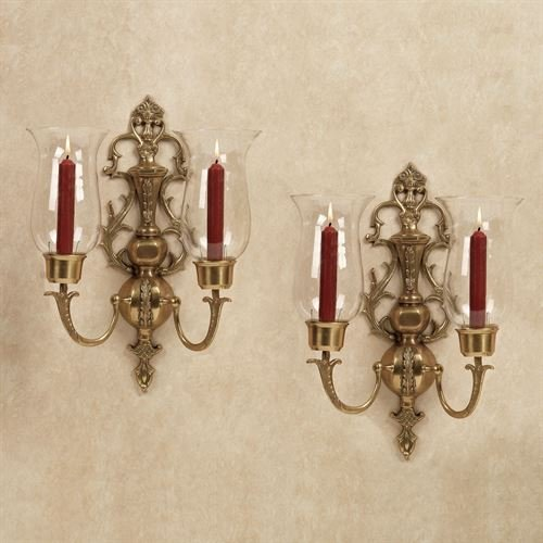 Flythe Consulting Solid Brass Double Arm Hurricane Candle Stick Holder Wall Sconce Candelabra