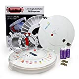 30 day automatic pill dispenser - GMS Med-e-lert 28 Day Automatic Pill Dispenser with Interchangeable Clear and White Lids -INCLUDES- Spare Tray, 6 Additional Dosage Rings and Spare Key + Four EXTRA Blucoil AA Batteries - VALUE BUNDLE
