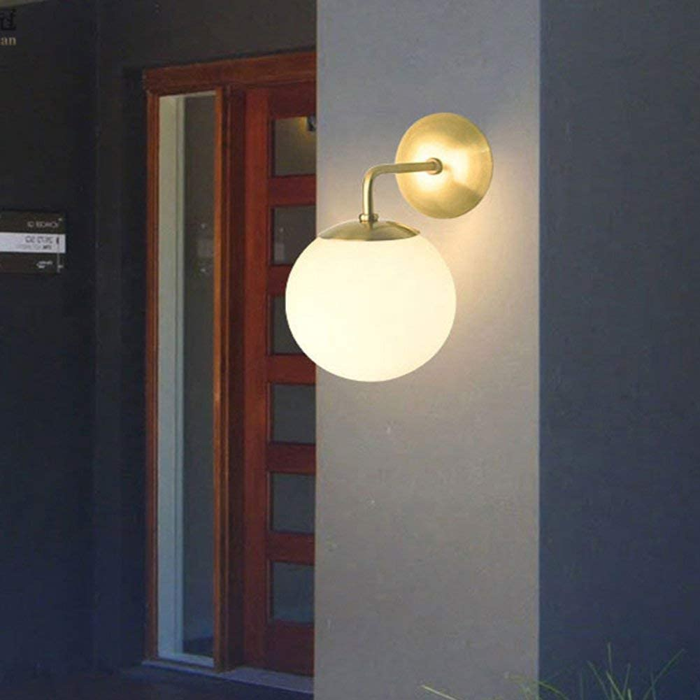 IJ INJUICY Glass Ball Wall Sconce Globe Wall Light Fixtures for Restaurant Living Room Bathroom Mirror Headlights Bedside A Satin Brass with Frosted Glass