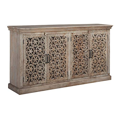 - Ashley Furniture Signature Design - Fossil Ridge 4-Door Accent Cabinet - Contemporary - Hand Carved Medallion Pattern - Amber