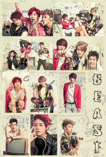 B2ST Beast vertical collage POSTER 23.5 x 34 with 10 B2$T picks Korean Kpop boy band (sent FROM USA in PVC pipe)