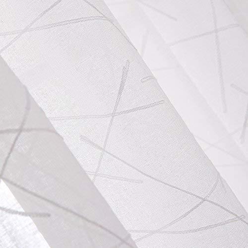 Deconovo Tende Trasparenti in Voile Ricamate con Anelli per Camera da Letto 140x280cm Bianco 2 Pannelli