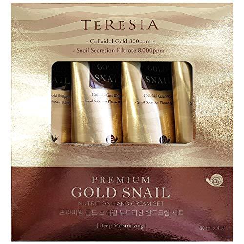 (Premium Gold Snail Nutrition Hand Cream, Moisturizing and Rejuvenating Skin Care, 80ml (2.7oz) x 4 Pcs)