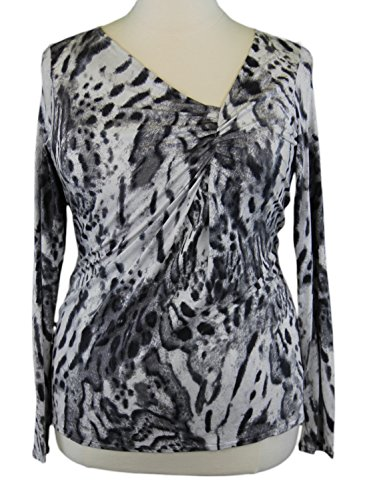 Marina Rinaldi by MaxMara Accettur White/Gray Animal Print Ruched Top - Max Mara Shop