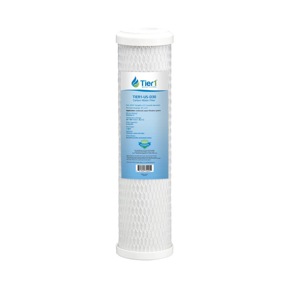 Tier1 Replacement for Omnifilter, GE, Pentek CBC-10 CB3 FXUVC FXULC 0.5 Micron 10 x 2.5 Radial Flow Carbon Water Filter