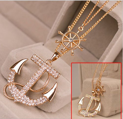 Hot Women Gold Plated Anchor Pendant Necklace Long Chain Sweater Jewelry Gift WHITE - Hot Anchor Women
