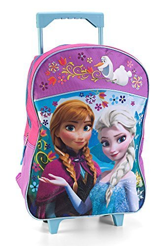 Fast Forward Little Girls' Frozen Roller Backpack, Pink/Purple, 16x12 (School Roller)