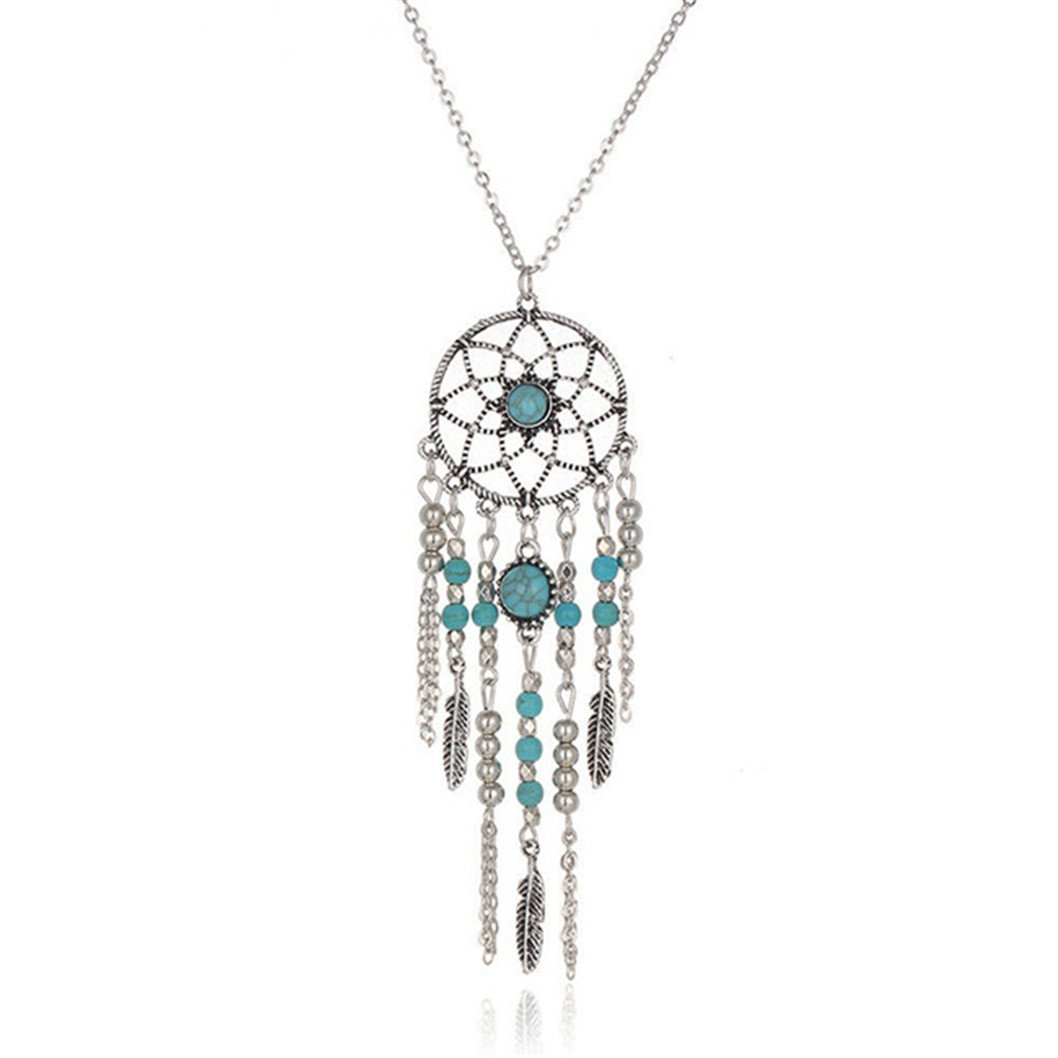 CanVivi Women Lady Retro Feather Dream Catcher Beads Leaves Tassel Pendant Necklace