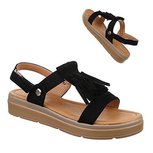 Ital-Design Damen Schuhe, 57532, Sandalen Fransen Riemchen Schwarz