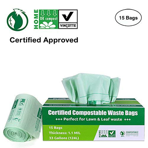 Primode  100% Compostable Bags, Lawn And Leaf Extra Large Trash Bags, ASTMD6400 Certified Biodegradable Compost Bags 33 Gallon, Certificated By US BPI And European VINCOTTE, Extra Thick 1.1 Mil (15)