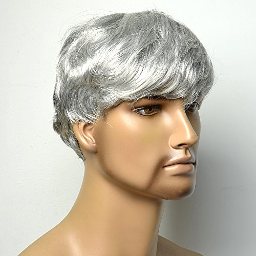 COOLSKY Short Straight Silver White Wigs Old Middle Age Men Male Father Full Wig Mature Natural Hair Replacement]()