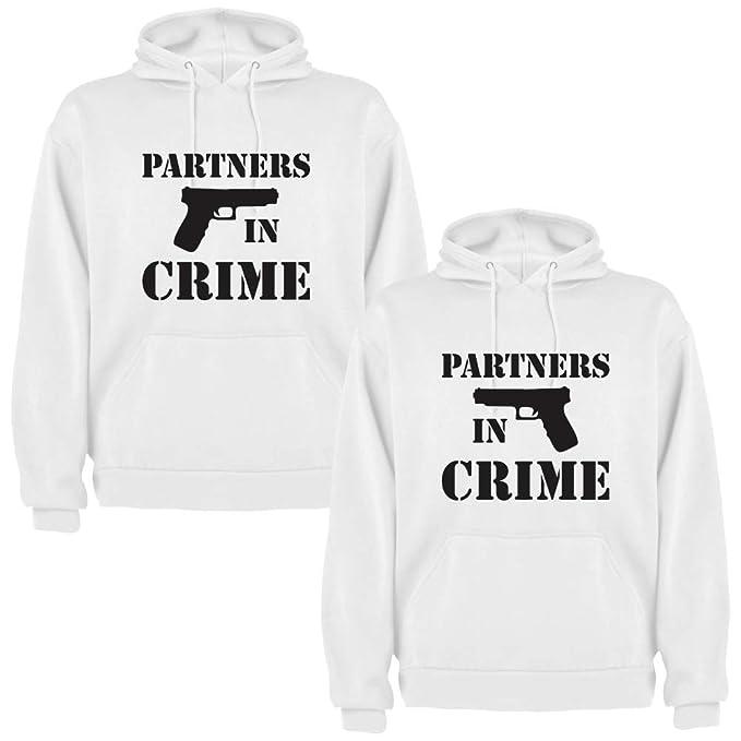 Pack de 2 Sudaderas Blancas para Parejas Partners in Crime Negro (Mujer Tamaño L +