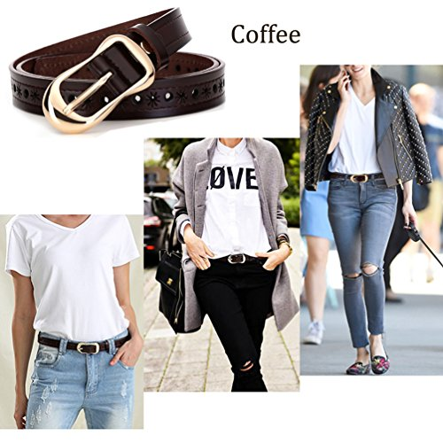 H-Time Women's Belts for Jeans, Hollow Out Leather Belts for Women, Coffee, Up to 34'' Waist(110cm belt) by H-Time (Image #2)