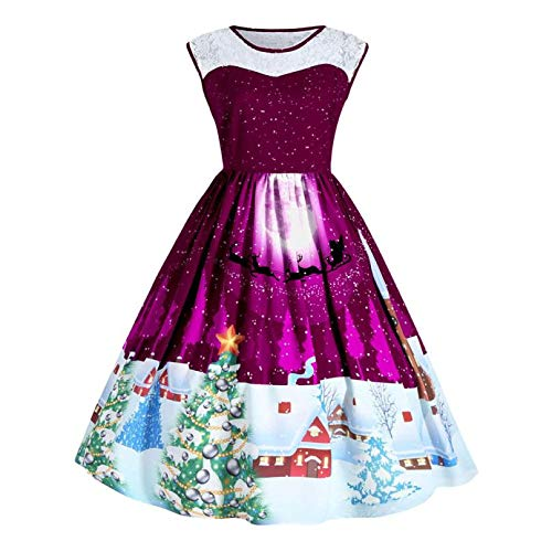 Dressin Women Christmas Print Plus Size Dress Lace Patchwork Up Swing Sleeve Party ()