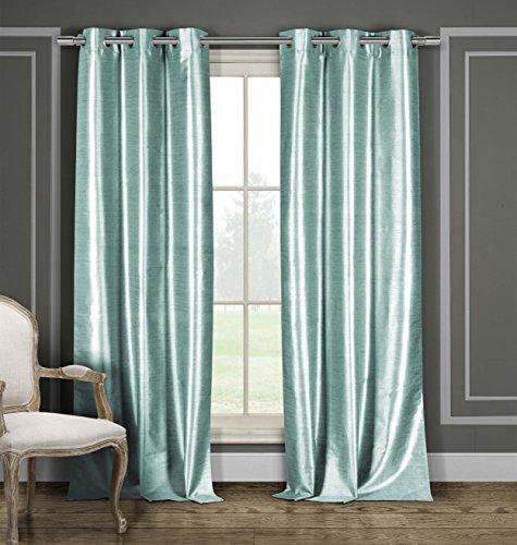 Duck River Textiles Bali Faux Silk Grommet Top Window Curtain 2 Panel Drape, 54