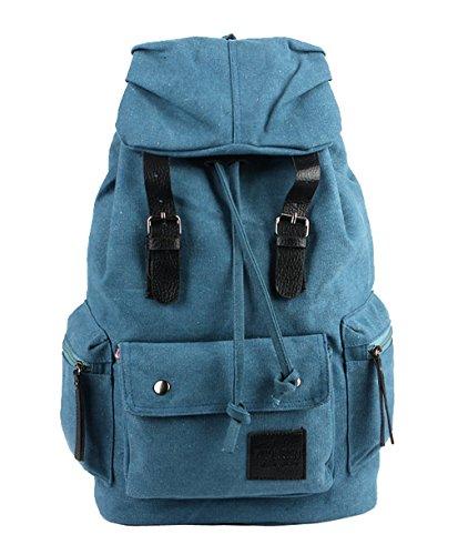 HopeEye Unisex mochila lona casual vintage viaje Gran capacidad Venta Marrón 4-azul