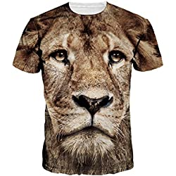 Unisex Digital Print Lion Prince Couple T-shirt Blouse Tops