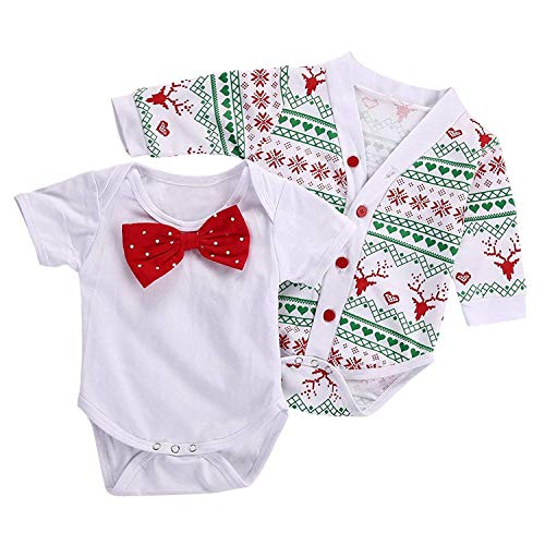 Christmas 3Pcs Outfit Sets Baby Girls Boys My First Christmas Snowflake Coat Bodysuit Rompers