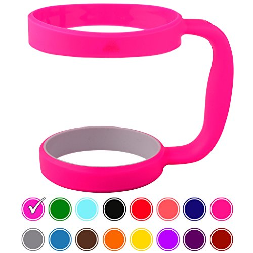 30oz Tumbler Handle (PINK) by STRATA CUPS - 16 COLORS - Available For 30oz YETI Tumbler, OZARK TRAIL Tumbler, Rambler Tumbler- Black, Gray, Purple, Teal, Pink, Gray, Red & More - BPA FREE