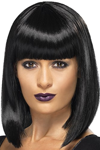Blunt Costumes (Smiffy's Women's Short Blunt Cut Black Bob with Bangs, One Size, R'n'B Star Wig, 5020570422373)