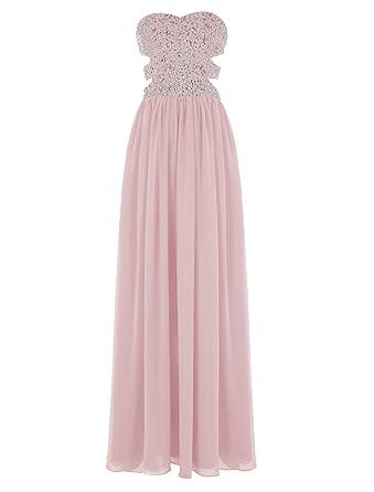 4fbd63703 Dresstells Sweetheart Prom Dress with Beads Long Chiffon Dress for Women  Blush Size 12