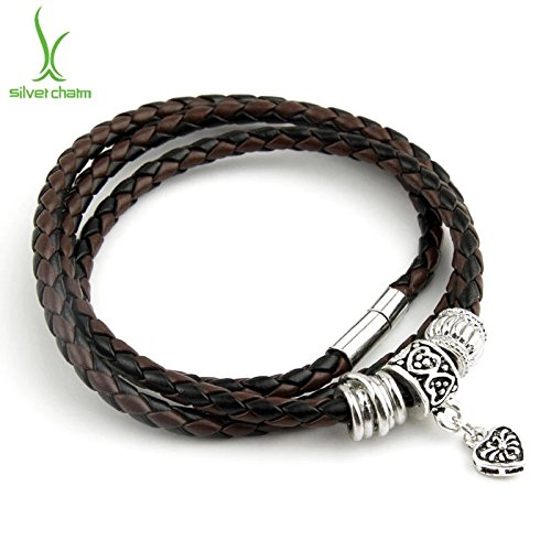 BLACK Newest Arrival Silver Charm Black Leather Bracelet for Women Magnet Clasp Christmas Gift - Dangling Barbell Chain